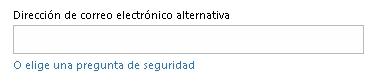 dirección de correo electronico alternativa