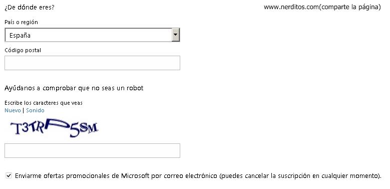 codigo postal crear cuenta hotmail com: