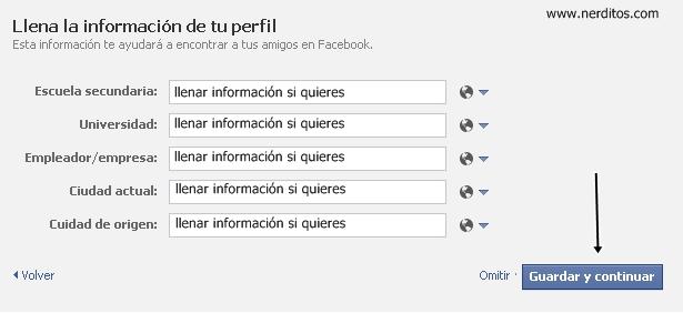 información personal, crear cuenta en facebook