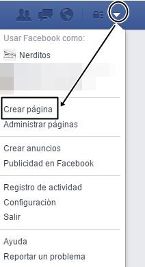como crear pagina en facebook, primer paso