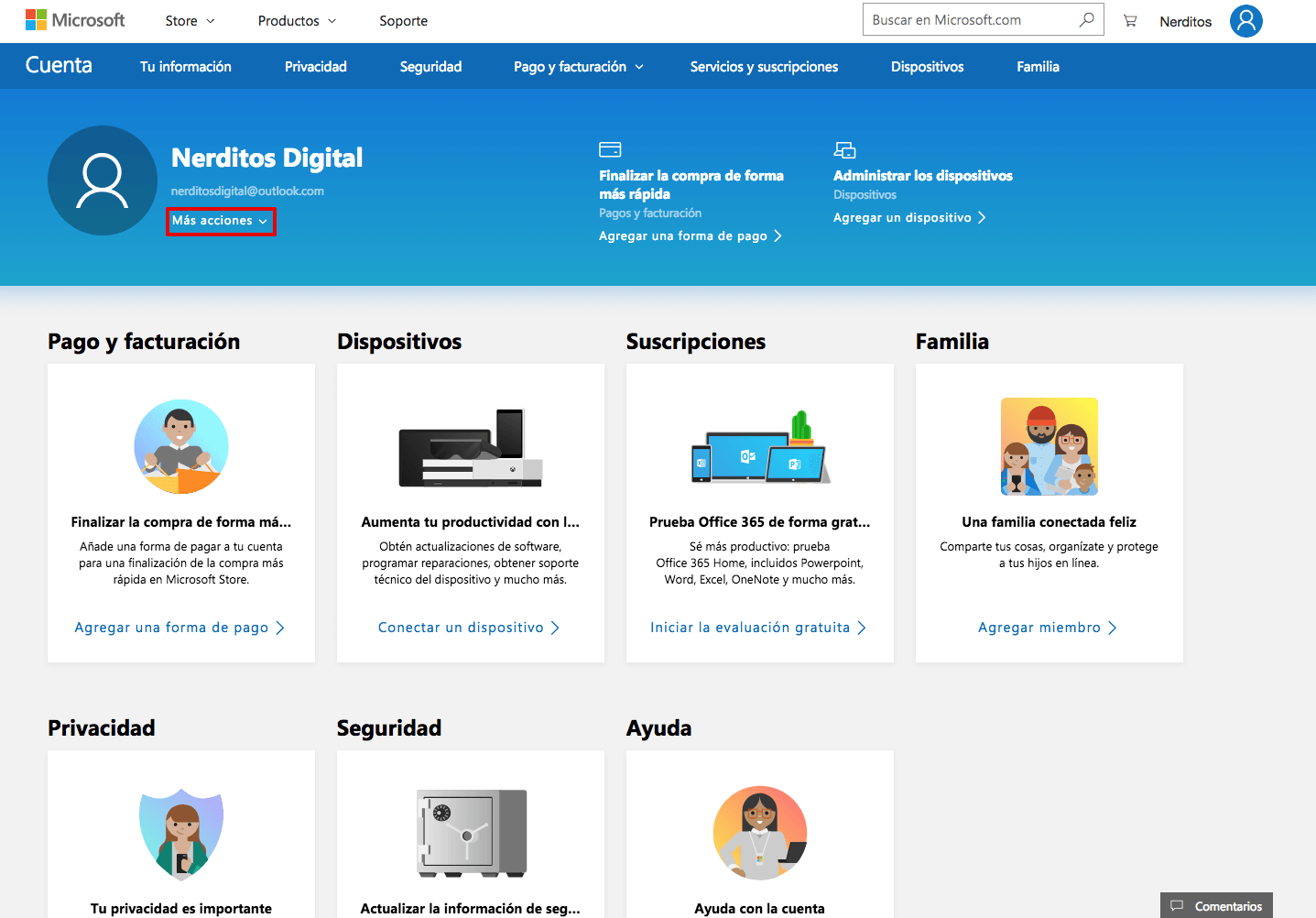Interfaz principal Microsoft